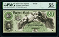 Deposit, NY- Deposit Bank $20 18__ G10b Proof PMG About Uncirculated 55