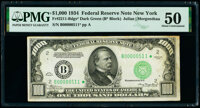 Fr. 2211-B* $1,000 1934 Federal Reserve Star Note. PMG About Uncirculated 50