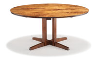 George Nakashima (American, 1905-1990) Round Cluster Base Dining Table, 1964 Walnut Inscribed Holtzman to undersi
