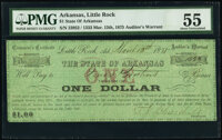 Little Rock, AR- State of Arkansas Treasurer's Certificate $1 Mar. 13, 1875 Cr. 66 PMG About Uncirculated 55