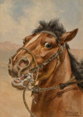 Paintings, Herman Wendelborg Hansen (American, 1853-1924). Cow Pony: Frisky and Played Out (pair). Wat...