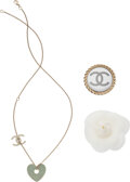 Luxury Accessories:Accessories, Chanel Set of Three: Necklace and Brooches. Condition: 2. See Extended Condition Report for Sizes. ...
