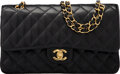 """Luxury Accessories:Bags, Chanel Black Quilted Caviar Leather Medium Double Flap Bag with Gold Hardware. Condition: 2. 10"""" Width x 6"""" Height x 2..."""