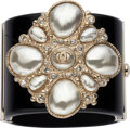 """Luxury Accessories:Accessories, Chanel Black Resin Pearl Cuff. Condition: 4. 2"""" Width x 6.5"""" Circumference . ..."""