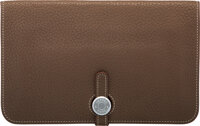 """Hermès Etoupe Clemence Leather Dogon Wallet with Palladium Hardware T, 2015 Condition: 4 7.5"""" Width x 4.5&qu..."""