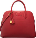 Luxury Accessories:Bags, Hermès 37cm Rouge Garance Ardennes Leather Bolide Bag with Gold Hardware. L Square, 2008. Condition...