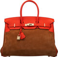 Luxury Accessories:Bags, Hermès Limited Edition 35cm Chamois Doblis Suede & Capucine Swift Leather Birkin Bag with Gold Hardware. R Squar...