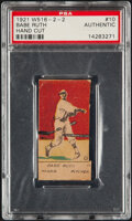 Baseball Cards:Singles (Pre-1930), 1921 W516-2-2 Babe Ruth (Hand Cut) #10 PSA Authentic....