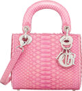 """Luxury Accessories:Bags, Christian Dior Pink Python Mini Lady Dior Bag. Condition: 3. 7"""" Width x 6"""" Height x 3"""" Depth. ..."""