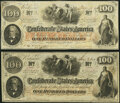 """Confederate Notes:1862 Issues, """"Issued Houston, TX"""" manuscript endorsement T41 $100 1862 PF-12 Cr. 317A Very Fine-Extremely Fine;. T41 $100 1862 PF-20 Cr... (Total: 2 notes)"""