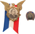 Political:Ferrotypes / Photo Badges (pre-1896), Grover Cleveland: Two Campaign Badges Including Rare Horseshoe Ferrotype Stud. ... (Total: 2 Items)