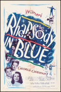 """Movie Posters:Musical, Rhapsody in Blue (Warner Bros., 1945/Dominant Pictures, R-1956). Folded, Fine/Very Fine. One Sheets (2) (27"""" X 41""""). Musical... (Total: 2 Items)"""