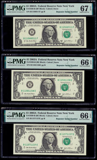 Radar and Repeater Serial Numbers 11566511, 11571157, and 11581158 Fr. 1930-B $1 2003A Federal Reserve Notes. PMG Graded...