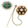 Estate Jewelry:Brooches - Pins, Antique Diamond, Seed Pearl, Enamel, Gold, Silver-Topped Gold Brooches. ... (Total: 2 Items)