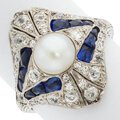 Estate Jewelry:Rings, Art Deco C. Lauger Diamond, Synthetic Sapphire, Cultured Pearl, Platinum Ring. ...