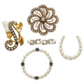 Estate Jewelry:Brooches - Pins, Antique Diamond, Sapphire, Seed Pearl, Freshwater Pearl, Gold Brooches. ... (Total: 5 Items)