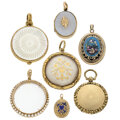 Estate Jewelry:Pendants and Lockets, Victorian Chalcedony, Seed Pearl, Half-Pearl, Mother-of-Pearl, Enamel, Gold, Yellow Metal Lockets. ... (Total: 7 Items)