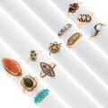 Estate Jewelry:Rings, Victorian Diamond, Multi-Stone, Gold Rings. ... (Total: 11 Items)