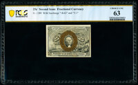 Fr. 1289 25¢ Second Issue PCGS Banknote Choice Unc 63