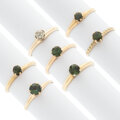 Estate Jewelry:Rings, Diamond, Green Sapphire, Tourmaline, Gold Rings, early 20th century. ... (Total: 7 Items)
