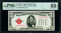 Small Size:Legal Tender Notes, Fr. 1525* $5 1928 Legal Tender Note. PMG Choice Uncirculated 63 EPQ.. ...
