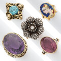 Estate Jewelry:Rings, Antique Diamond, Multi-Stone, Enamel, Gold, Silver-Topped Gold Rings. ... (Total: 5 Items)