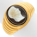 Estate Jewelry:Rings, Gentleman's Hardstone Cameo, Enamel, Gold Ring, early 20th century. ...