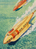 Pulp, Pulp-like, Digests and Paperback Art, James B. Settles (American, 20th Century). Jet Skis of Tomorrow, Fantastic Stories magazine back cover, April 1945. Wate...