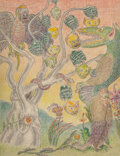 Paintings, Clark Ashton Smith (American, 1893-1961). Racornee. Crayon and pencil on paper laid on paper. 11 x 8-1/2 inches (27.9 x ...