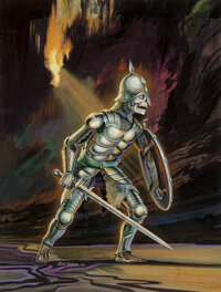 Don Greer (American, 20th Century) Down in the Dungeon, paperback cover, 1981 Gouache on board with acetate overlay 1