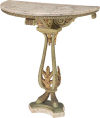 A Louis XVI-Style Patinated Bronze Demilune Console Table with Marble Top, late 19th-early 20th century 33-1/8 x 29-3/8...