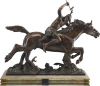 After Maurice Leblanc (French, 1864-1941) Native American on Horseback Bronze 25-1/2 x 26-1/2 x 11-1/4 inches (64.8 x