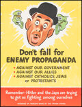 """Movie Posters:War, World War II Propaganda (U.S. Government Printing Office, 1940s). Folded, Very Fine. Poster (16.5"""" X 21.5"""") """"Don't Fall for ..."""