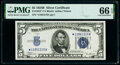 Small Size:Silver Certificates, Fr. 1652* $5 1934B Silver Certificate Star. PMG Gem Uncirculated 66 EPQ.. ...