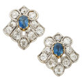 Estate Jewelry:Earrings, Antique Sapphire, Diamond, Platinum-Topped Gold Earrings. ...