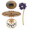 Estate Jewelry:Brooches - Pins, Victorian Diamond, Multi-Stone, Enamel, Gold Brooches. ... (Total: 4 Items)