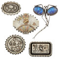 Estate Jewelry:Brooches - Pins, Victorian Butterfly Wing, Glass, Gold, Silver Brooches. ... (Total: 5 Items)