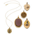 Estate Jewelry:Pendants and Lockets, Victorian Multi-Stone, Seed Pearl, Enamel, Gold, Yellow Metal Lockets . ... (Total: 5 Items)