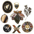 Estate Jewelry:Lots, Victorian Scottish Agate, Multi-Stone, Hair, Gold, Silver, Yellow Metal Jewelry. ... (Total: 8 Items)