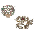 Estate Jewelry:Brooches - Pins, Georgian Diamond, Colored Diamond, Multi-Stone, Silver-Topped Gold Brooches. ... (Total: 2 Items)