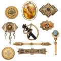 Estate Jewelry:Brooches - Pins, Victorian Diamond, Multi-Stone, Seed Pearl, Enamel, Gold, Gold-Plated Brooches. ... (Total: 10 Items)