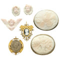 Estate Jewelry:Brooches - Pins, Victorian Shell, Lava, Gold, Silver, Yellow Metal Brooches. ... (Total: 7 Items)