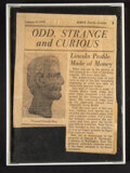 Miscellaneous:Other, A Framed Newspaper Clipping. ...