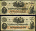 Confederate Notes:1862 Issues, T41 $100 1862 PF-25 Cr. 318A Two Examples Fine-Very Fine.. ... (Total: 2 notes)