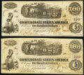 Confederate Notes:1862 Issues, T40 $100 1862 PF-1 Cr. 298 Two Examples Extremely Fine; About Uncirculated.. ... (Total: 2 notes)