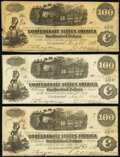Confederate Notes:1862 Issues, T40 $100 1862 PF-1 (3) Cr. 298; Cr. 300 (2) Fine (3).. ... (Total: 3 notes)