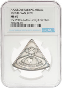 Apollo 8 Flown MS66 NGC Sterling Silver Robbins Medallion, Serial Number 209, Directly from The Potter-Aldrin Family Col...