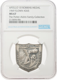 Apollo 10 Flown MS67 NGC Sterling Silver Robbins Medallion, Serial Number 265, Directly from The Potter-Aldrin Family Co...