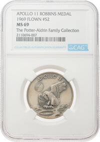 Apollo 11 Flown MS69 NGC Sterling Silver Robbins Medallion, Serial Number 52, Directly from The Potter-Aldrin Family Col...