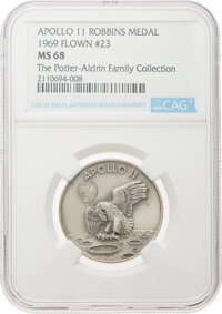 Apollo 11 Flown MS68 NGC Sterling Silver Robbins Medallion, Serial Number 23, Directly from The Potter-Aldrin Family Col...